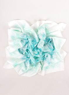 """HERMES White and Teal Silk Dotted Paisley Print """"Indian Dust"""" Scarf – Luxury Garage Sale"""