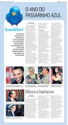 Reportagem sobre o sucesso do Twitter publicada em 31 de dezembro de 2009 no jornal O Popular