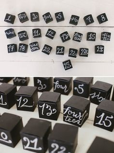 Advent Chalkboard DIY via Oh Happy Day. Wanna use this cute chalkboard boxes for something else.