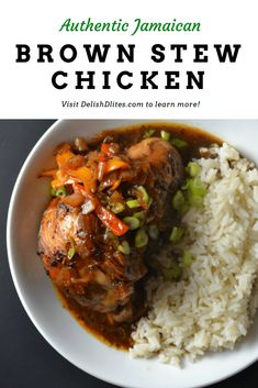 Jamaican brown stew chicken is a simple stew with complex flavors. It's the perfect one pot Caribbean meal. Get the recipe now from Delish D'Lites! Jamaican Cuisine, Jamaican Dishes, Jamaican Recipes, Jamaican Soup, Jamaican Appetizers, Guyanese Recipes, Stew Chicken Caribbean, Jamaican Brown Stew Chicken, Jamacian Food