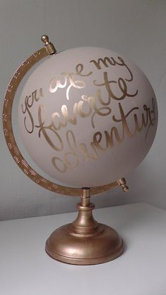 Hand painted globe. Travel gift. Wedding guest by WholeWorldOfLove