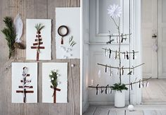 Nice short and homemade Christmas tree Homemade Christmas Tree, Christmas Time, Xmas, Christmas Branches, Hygge, Ladder Decor, Seasons, Inspiration, Home Decor