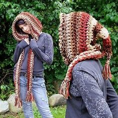 Hooded scarf --- lots of scarves / cowls on this Etsy site, but not this design which is so cool :)