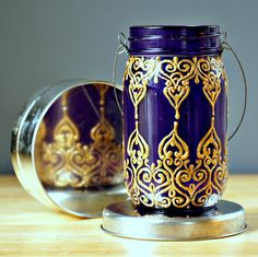 Hand Painted Mason Jar Lantern, Royal Purple Glass with Golden Detailing.  on etsy.com