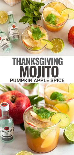 This Thanksgiving Mojito recipe puts a fall-inspired twist on a classic rum drink. Apple cider, pumpkin puree and pumpkin pie spice are combined with a standard mojito to make this festive cocktail.