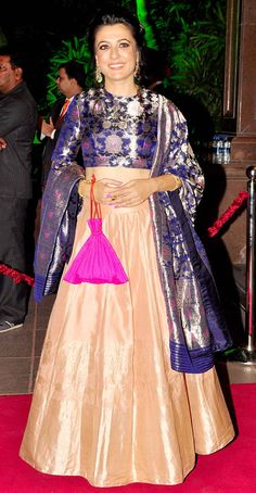 Mini Mathur at Arpita Khan's wedding reception in Mumbai. Indian Wedding Outfits, Bridal Outfits, Indian Outfits, Lehenga Designs, Kurta Designs, Blouse Designs, Designer Anarkali, Designer Gowns, India Fashion