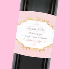 Étiquette de bouteille mariage élégante et personnalisable pour donner une touche gourmande à votre repas de noce, réf.N300890