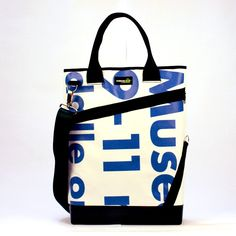 #tote #bag made with old street advertising and car safety belt - on Lovli.it