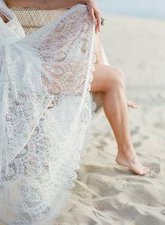 sooo pretty...lace dress, white sandy beach