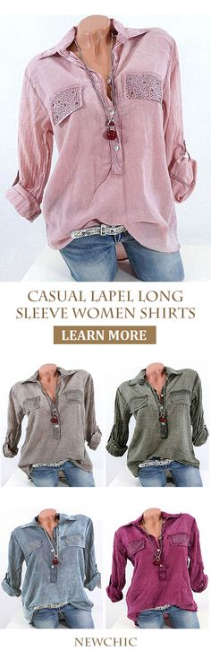 [Newchic Online Shopping] 50% OFF Women's Casual Lapel Shirts with Sequins Decorated and Long Sleeve