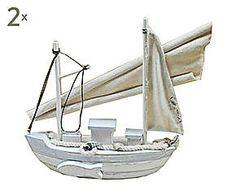 Set de 2 barcos decorativos de madera Priscilla