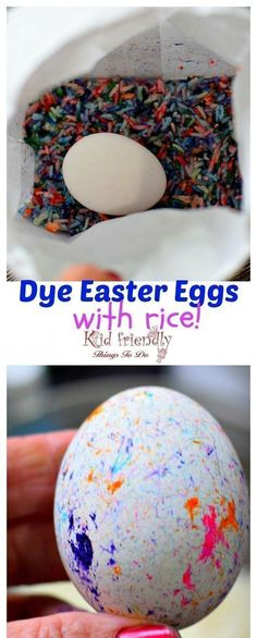 How to Use RICE To Dye Easter Eggs (Super Fun and Easy!) - perfect for preschool kids and big kids. Teens will love this DIY! so easy to clean up! love this! #eastereggs #eastercraft #eggdye #easteridea www.kidfriendlythingstodo.com