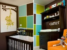 Love the idea of painting a block wall in a nursery  Also like the monkey painting,