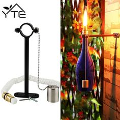 YTE Tiki Torch Kit Wine Bottle With Wicks Brass for Outdoor Garden Lighting Christmas Halloween Party (Updated Version) Outdoor Torches, Outdoor Garden Lighting, Tiki Torches, Bollard Lighting, Bar Lighting, Wine Bottle Tiki Torch, Wine Bottles, Pallet Dog Beds, Make Your Own Wine