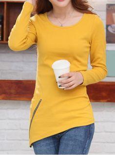 Elegant Scoop Neck Zippered Long Sleeve Knitwear For Women Sweaters & Cardigans | RoseGal.com Mobile