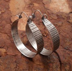 Sterling Silver Hoop Earrings, Sterling Hoops, Ethnic Silver Hoops, Rustic Primitive Metalsmith Hoop, Hand Wrought Silver Hoop, Tribal Hoops