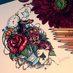 It's dark and stormy in wonderland today. Finished neo traditional tattoo design for client based on Alice in Wonderland. If I ever do get an Alice in Wonderland tattoo, I'll have her design it. Kunst Tattoos, Body Art Tattoos, New Tattoos, Tatoos, Traditional Tattoo Design, Traditional Tattoos, Tattoo On, Tattoo Drawings, Flower Drawings