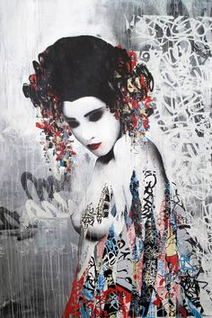 The creations of anglais street artist HUSH, mixing techniques of collage, graffiti, stencil, painting and drawing with talent in a world populated by Japanese geisha, dressed in this colorful mix that characterizes painted walls… The result is simply beautiful.