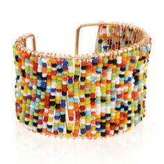 Fashion Colorful Woven Small Pearl Beads Open Elastic Bangle Wide Bracelet Gift