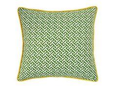 Jiti Pillows Maze Square Decorative Pillow, Green and Yellow - contemporary - pillows - Wayfair