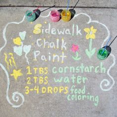 children Painting Sidewalk Chalk - SavorSummer Make OldSchool Kids' Play Materials and See Other Crafts That Inspire Us! Craft Activities For Kids, Projects For Kids, Diy For Kids, Craft Projects, Sensory Activities, Kids Fun, Summer Activities, House Projects, Outdoor Activities