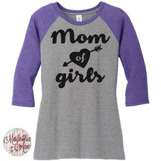 Mom Of Girls, Mom Life, Women's Raglan 2 Tone 3/4 Sleeve Tops in Sizes Small-4X, Plus Size by MagnoliaAnn on Etsy