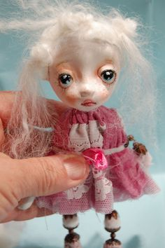 Artistic doll Brooch OOAK Kelly with her pink by ppinkydollsart