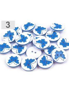 Nasture alb cu fluturas albastru - set de 3 buc.