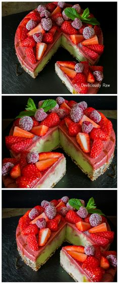 Raw, Vegan Avocado, Strawberry and Rhubarb Ice Cream Cake by Deviliciously Raw. Quick, easy, light and ice cold. Made with just a few simple, clear ingredients. A soft base layered with avocado, banana and lime filling, finished with fresh juicy strawberry and rhubarb layer, all topped with strawberries and raspberries.