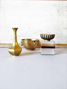 Vintage brass collection, brass vase, brass bowl, brass ashtray, modern decor, mcm brass, boho chic brass collection