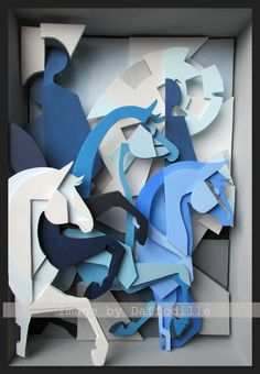 Cubic Polo Ponies by ~DaffoDille Traditional Art / Mixed Media / Abstract. Modify to deer, wolves, and other outdoor scenes. Sculpture Projects, Sculpture Art, Art Projects, Cardboard Sculpture, Cardboard Art, Art Carton, Dom Quixote, Diy Papier, Paper Illustration