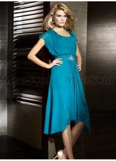 A-line Scoop Beading Knee-length Chiffon Cap sleeve Mother of the Bride Dresses