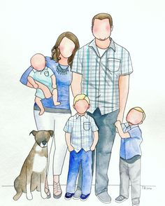 Watercolor family portrait by brushworkbyjustine