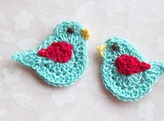 Crochet Bird Appliques---Aqua & Red Love Birds via Etsy