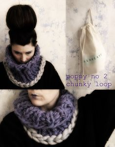 ziknitty's poppy no 2 chunky loop / loop around scarf by ziknitty