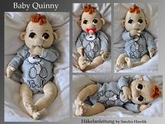 Baby Quinny pattern by S. Hawlik : Ravelry: Baby Quinny pattern by S. Hawlik : Baby Quinny pattern by S. Hawlik : Ravelry: Baby Quinny pattern by S. Crochet Crafts, Crochet Toys, Crochet Projects, Crochet Dolls Free Patterns, Amigurumi Patterns, Häkelanleitung Baby, Diy Baby, Crochet Fairy, Baby Sewing Projects
