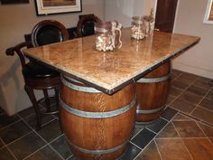 Awesome Double Barrel Granite Slab Table From Reese S Custom Pieces