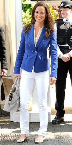 day after the royal wedding, Pippa in a Zara blazer, white pants with Modalu handbag