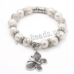 Freshwater Cultured Pearl Bracelet, Freshwater Pearl, with Brass, Butterfly, antique silver color plated, natural, white, 9-10mm,china wholesale jewelry beads