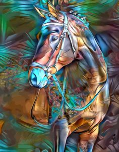 Colorful Animal Paintings, Colorful Animals, Cute Animals, Pop Art, Street Art, Horse Artwork, Art En Ligne, Lighted Canvas, Art Original