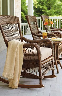 Providence Rocking Chair with Cushion. A porch is a must. If not a complete wrap around, a front porch of some sort is one of my requirements. Wicker Furniture, Outdoor Furniture, Wicker Chairs, Lounge Chairs, Lego Furniture, Decoupage Furniture, Office Chairs, Chair Cushions, Room Chairs