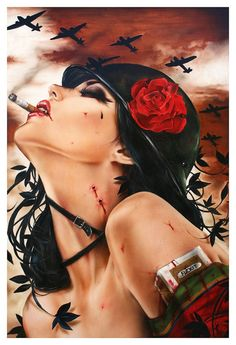 "one of Brian Viveros awesome awesome ""cigarette girl"" paintings. Love them all"