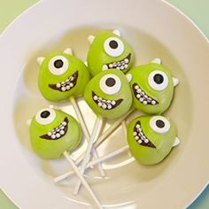 Seriously? How cute are these?! Mike Wazowski Cake Pops