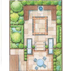 Interesting patio plus garden desige