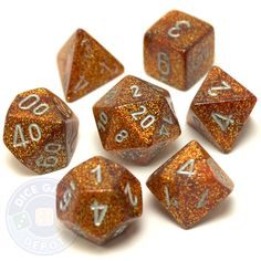 Each bright, glittery gold dice set contains the following: 1 four-sided dice (d4) 1 six-sided dice (d6) 1 eight-sided dice (d8) 1 ten-sided dice (d10) 1 percentile dice (d%) 1 12-sided dice (d12) 1 t