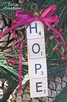 Scrabble Tile Ornament HOPE by DellaCreations on Etsy