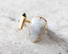 Teardrop Labradorite Stone Cuff Ring / Brass / Adjustable Size [WR0200]