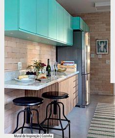 O Azul Tiffany juntamente com o tijolinho aparente criou um efeito muito legal. Inspiração via @casa_casada. Ad http://ift.tt/1U7uuvq arqdecoracao arqdecoracao @arquiteturadecoracao @acstudio.arquitetura #arquiteturadecoracao #olioliteam #canalolioli #instagrambrasil #decor #arquitetura #adcozinha #cozinha