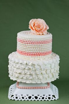 Antique Ruffles and Pearls Cake