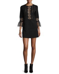 3/4-Sleeve+Ponte+Lace-Trim+Shift+Dress,+Black+by+Self+Portrait+at+Neiman+Marcus.